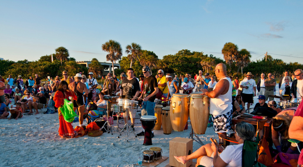 A summer drum circle on Siesta Key. It happens every Sunday.